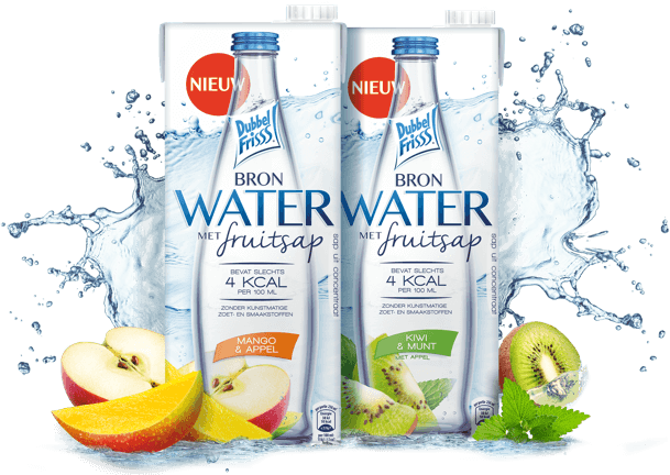 Bronwater met fruitsap